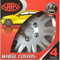 SAAS Reactor Style 14 Inch Silver Wheel Covers