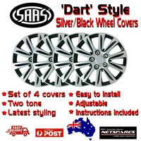 Saas 'Dart' Style Silver/Black Wheel Covers