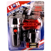 Lion Bicycle Light Set With 5 LED Front & 5 LED Red Rear Lamps