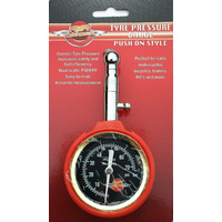 Air Attack Tyre Pressure Gauge Dial Type Push On Style Dual Scale PSI KPA