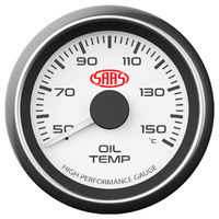 SAAS Performance 52mm Oil Temperature Gauge White Face